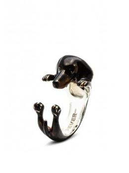 Dachshund dog breed pet owner gifts from dog fever jewelers. Silver hug ring