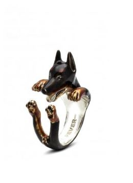 Dog Fever Jewelry Doberman Pinscher dog hug ring quality gift for pet dog owners.