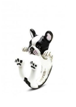 Dog Fever French Bulldog hug ring notable black and white markings of the French bulldog illustrated on jewelry.