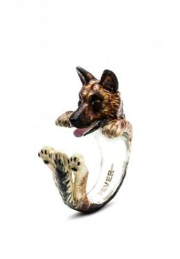 Dog Fever Jewelers hug ring of the German Shepherd dog a miniature sculpture of your best dog friend.