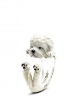 Maltese Enameled Hug Ring by Dog Fever Jewelry enameled miniature of the Maltese dog breed