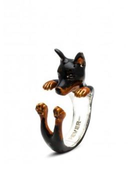 Dog Fever Jewelry Pinscher dog breed silver and color enamel miniature portrait ring.