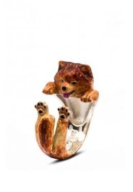 Dog Fever Jewelry Pomeranian dog breed miniature dog portrait enamel ring.