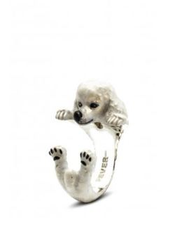 Dog Fever Jewelry Poodle breed miniature dog portrait hug ring.