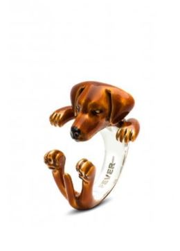Dog Fever Jeweler Rhodesian Ridgeback dog breed hug ring in glossy color enamel on sterling silver fine jewelry gifts.
