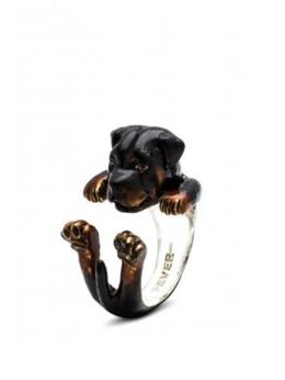 Rottweiler dog breed gift for pet owners from dog fever jewelers dog hug ring