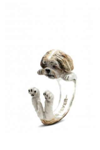 Dog Fever Jewelers dog hug ring of the Shih-Tzu dog breed hand made quality jewelry
