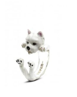 West Highland Terrier Breed dog owner gift of fine jewelry  from Dog Fever. Hug Rings