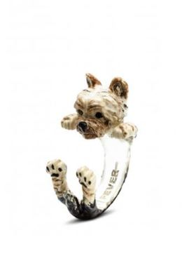 Yorkshire Terrier dog breed hug ring enamel and silver from Dog Fever jewelers