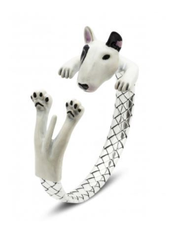Dog Fever fine jewelry substanial heavy 925 sterling silver solid peice of quality jewelry of the Bull terrier dog breed hug bracelet