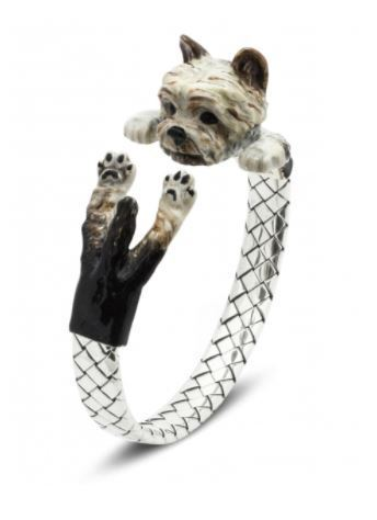 Dog Fever Yorkshire Terrier dog breed fine jewelry silver enamel miniature portrait hug wrap bracelet.