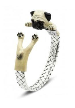 Dog Fever Pug dog breed miniature portrait hug wrap bracelet of fine jewelry sterling silver and color painted enamel