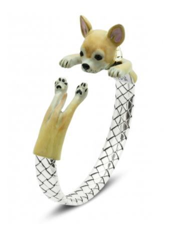 Dog Fever Chihuahua dog breed wrap bracelet in fine sterling silver colored in durable enamel paint from expert artisans