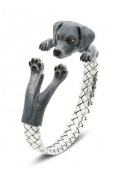 Dog Fever Jewelry Weimaraner dog breed silver enamel hug wrap bangle bracelet