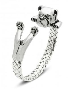 Dog Fever English Bulldog sterling silver fine jewelry hug wrap bracelet.