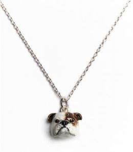 English bulldog pet owners Dog Fever necklace pendant in color enamel