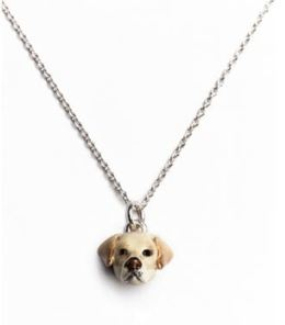 Labrador retriever pendant necklace from Dog Fever enamel on sterling silver jewelry.