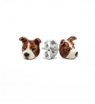 Bull Terrier dog head earrings from DOg Fever Jewelers. Perfect gift for Pit Bull dog owners.