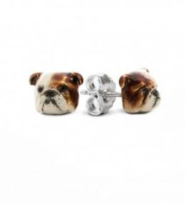 English Bulldog dog face earrings from Dog Fever Jewelers. Italian designed fine jewelry gifts for pet owners.