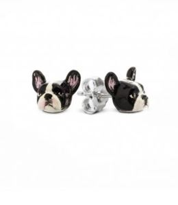 French Bulldog breed mini-portrait earrings from Dog Fever Jewelers.