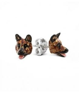 German Shepherd dog breed earrings of fine quality are the perfect good gift for every owner of the german shepherd dog breed made by dog fever jewelers.