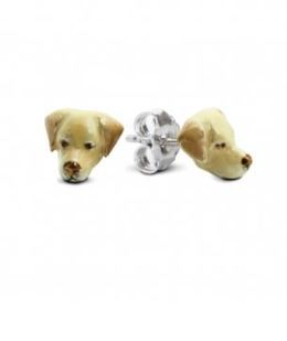Labrador dog breed owners quality silver enameled dog head earrings from Dog Fever jewelers