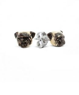 Dog Fever Pug dog breed earrings in color enamel paint on sterling silver hand made in Italy for pug dog owners