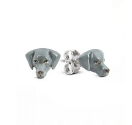 Dog Fever Weimaraner earrings miniature dog head portraits of the Weimaraner dog breed in sterling silver and enamel