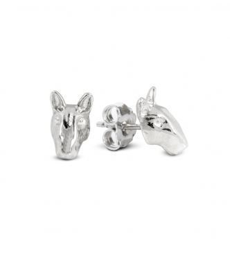 Fine jewelry earrings best gift for Bull Terrier dog breed owners from Dog Fever jewelry.
