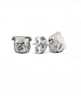 Dog Fever Jewelers English Bulldog earrings. Fine quality sterling silver dog head image hand made jewels.
