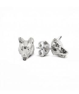 German Shepherd dog head portrait earrings cast in fine sterling silver dog owner gifts from Dog Fever jewelry