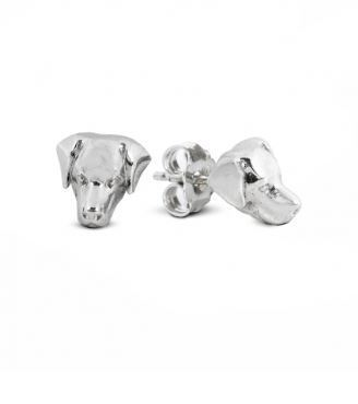 Dog Fever dog head earrings of the Labrador retriever dog breed. Sterling silver dog head images from dog fever.