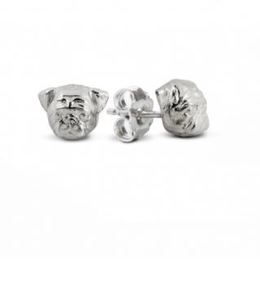 Dog Fever jewelry earrings in fine sterling silver of the Pug breed dog.