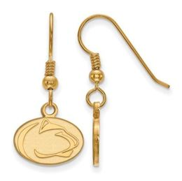 Penn State Gold Plated Dangle Lion Head Earrings image 2