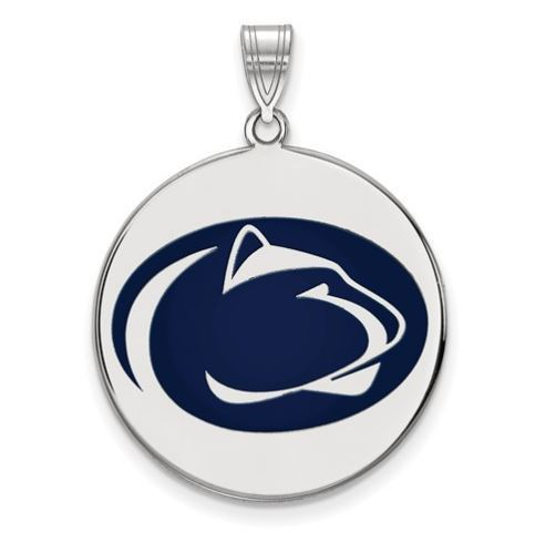 Penn State Sterling Silver Lion Head Enamel Large Disc Pendant image 2