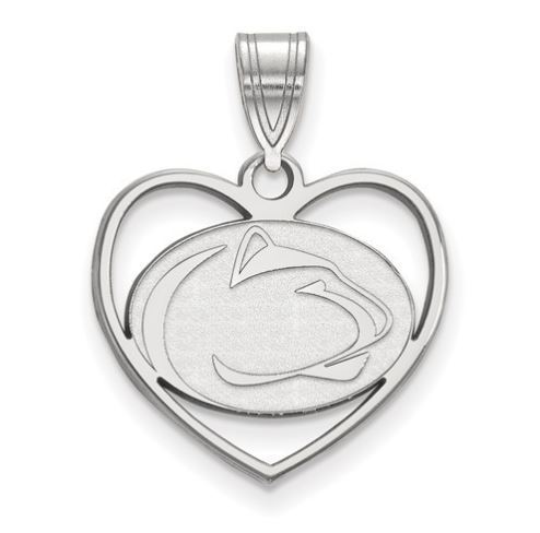 Penn State Sterling Silver Lion Head Heart Pendant image 2