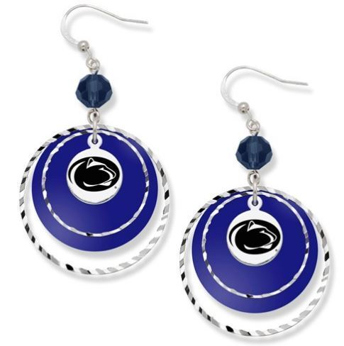 Penn State Game Day Blue Dangle Lion Head Earrings image 2