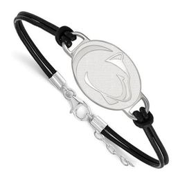 Penn State Sterling Silver Lion Head and Leather Bracelet image 2
