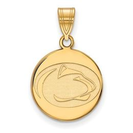 Penn State Sterling Silver Gold Plated Medium Disc Pendant image 2