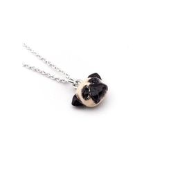Dog Fever jewelry in fine sterling silver and enamel pug dog breed necklace