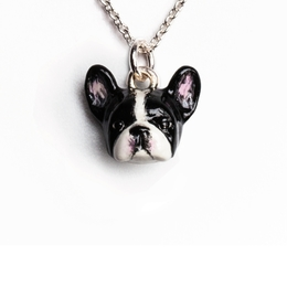 Dog Fever miniature French bulldog portrait painted in color enamel on fine sterling silver in a quality necklace pendant charm.