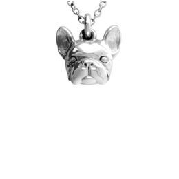 French bulldog, Frenchie dog head necklace sterling silver from Dog Fever Jewelers