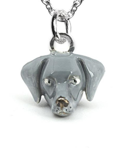 Weimaraner necklace from Dog Fever the perfect gift for pet owners of this silver ghost dog breed.