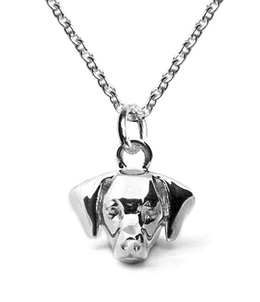 Dog Fever Jewelry pendant charm necklace of the Weimaraner dog breed in sterling silver on a chain.