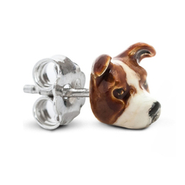 solid silver and color enamal dog head earrings of American Staffordshire Bull Terrier dog breed a great gift for dog pet owners.