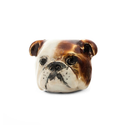 A faithful likeness of the English Bulldog bredd. Dog Fever Jewelers hand made silver and enamel dog face portrait earrings.