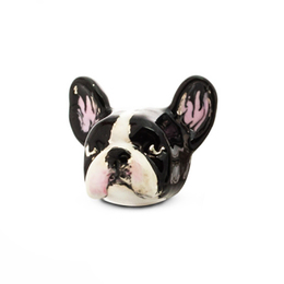 Quality, hand painted dog head earrings of the French bulldog from Dog Fever Jewelers.
