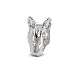 Dog Fever Bull Terrier dog head cast image jewelry hand made of fine sterling silver by Italian jewelry designers.