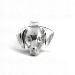Weimaraner dog breed dog head miniature portrait in sterling silver hand made jewelry from dog fever Italian jewelry makers