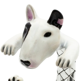 masterful portrait in miniature made of sterling silver and hand painted in color enamel of the bull terrier dog breed from dog fever italian jewelry makers